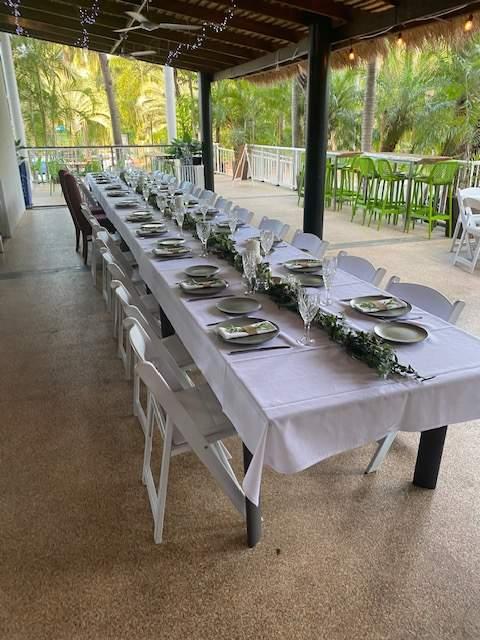 Drift & Wood Long Table Outside Plates Setup